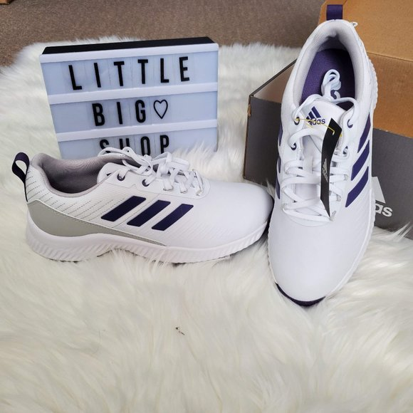 Woman's Adidas Golf Shoes Size 6 White/Purple/Gray